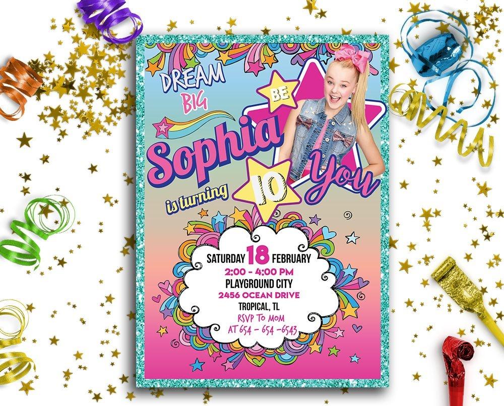 Jojo Siwa Printable Invitation (Customized) In 2019   Jojo Siwa - Jojo Siwa Free Party Printables
