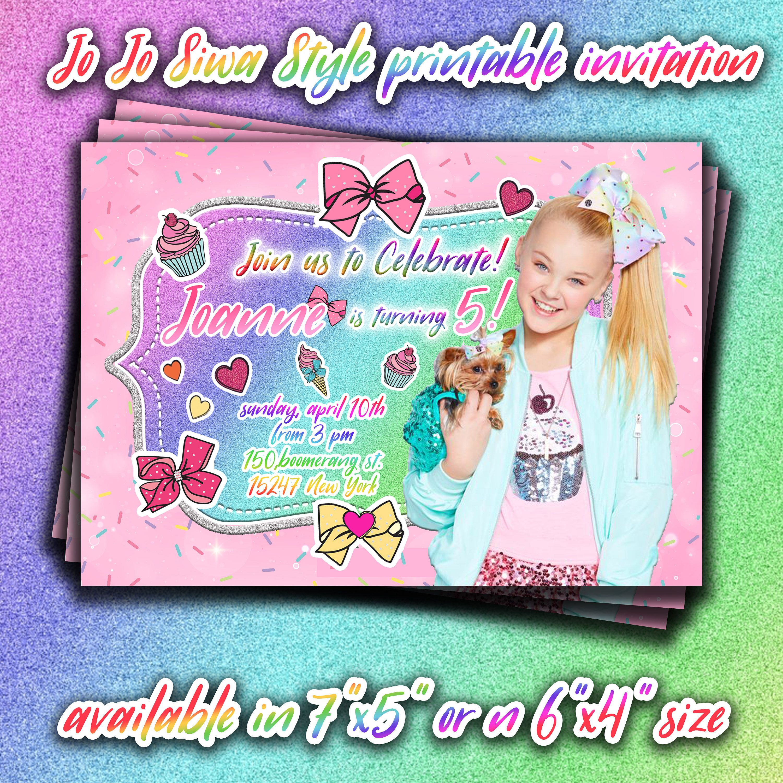 Jojo Siwa Printable Invitation,jojo Siwa Birthday Party Invites,jojo - Jojo Siwa Free Party Printables
