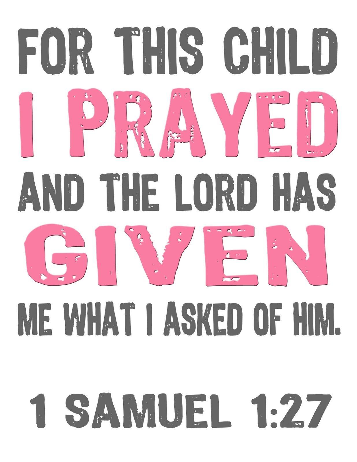Jon And Bethany: Free Printable: For This Child I Prayed | Bible - For This Child We Have Prayed Free Printable