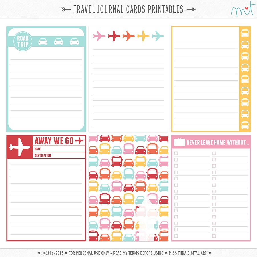 Journal Cards | Misstiina - Free Printable Personal Cards