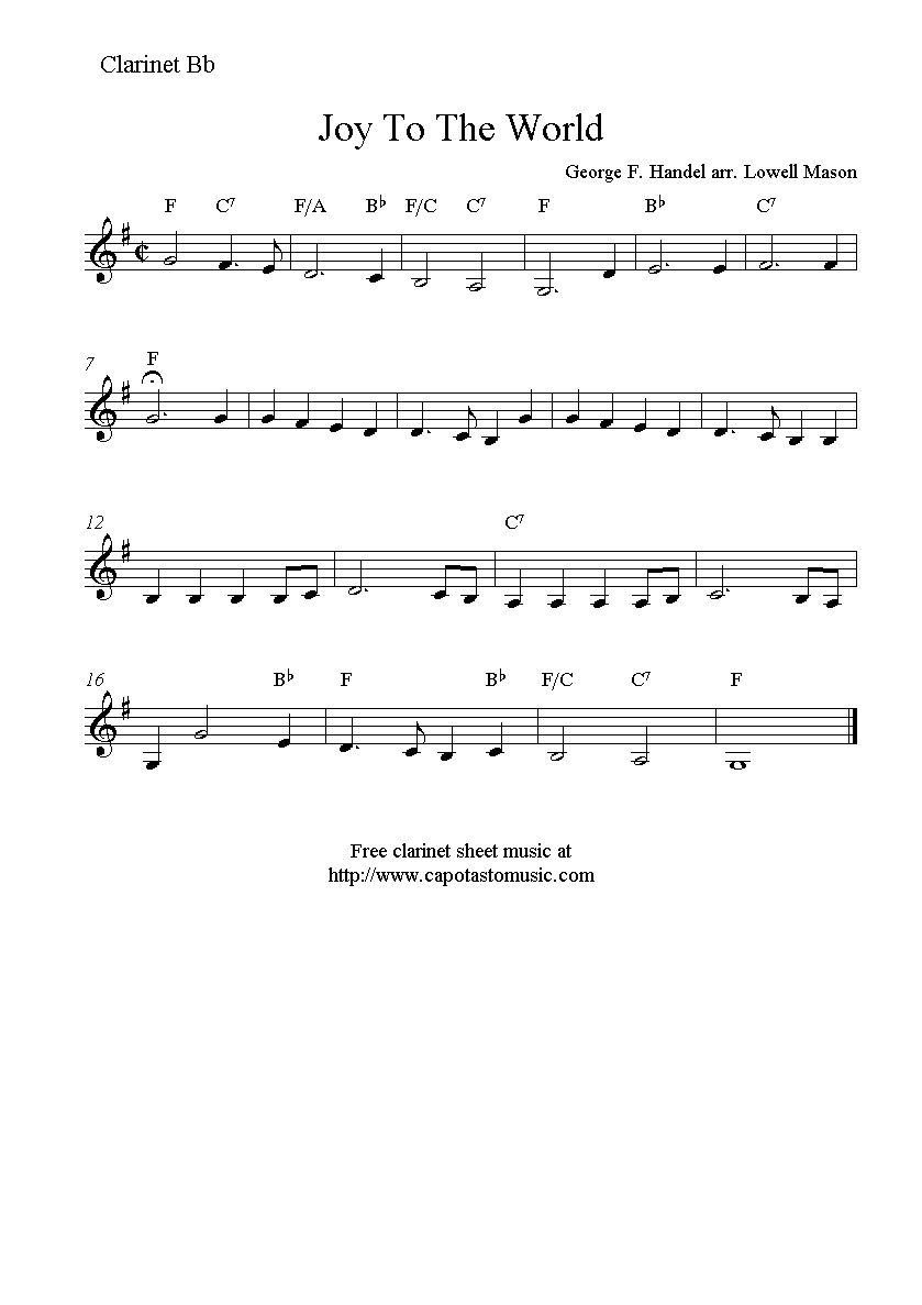 Joy To The World, Free Christmas Clarinet Sheet Music Notes - Free Printable Christmas Songs For Clarinet