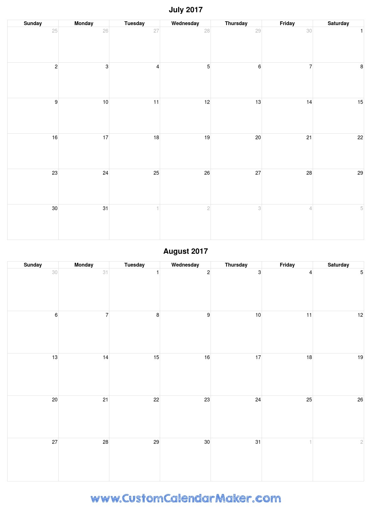 July And August 2017 Free Printable Calendar Template - Free Printable August 2017