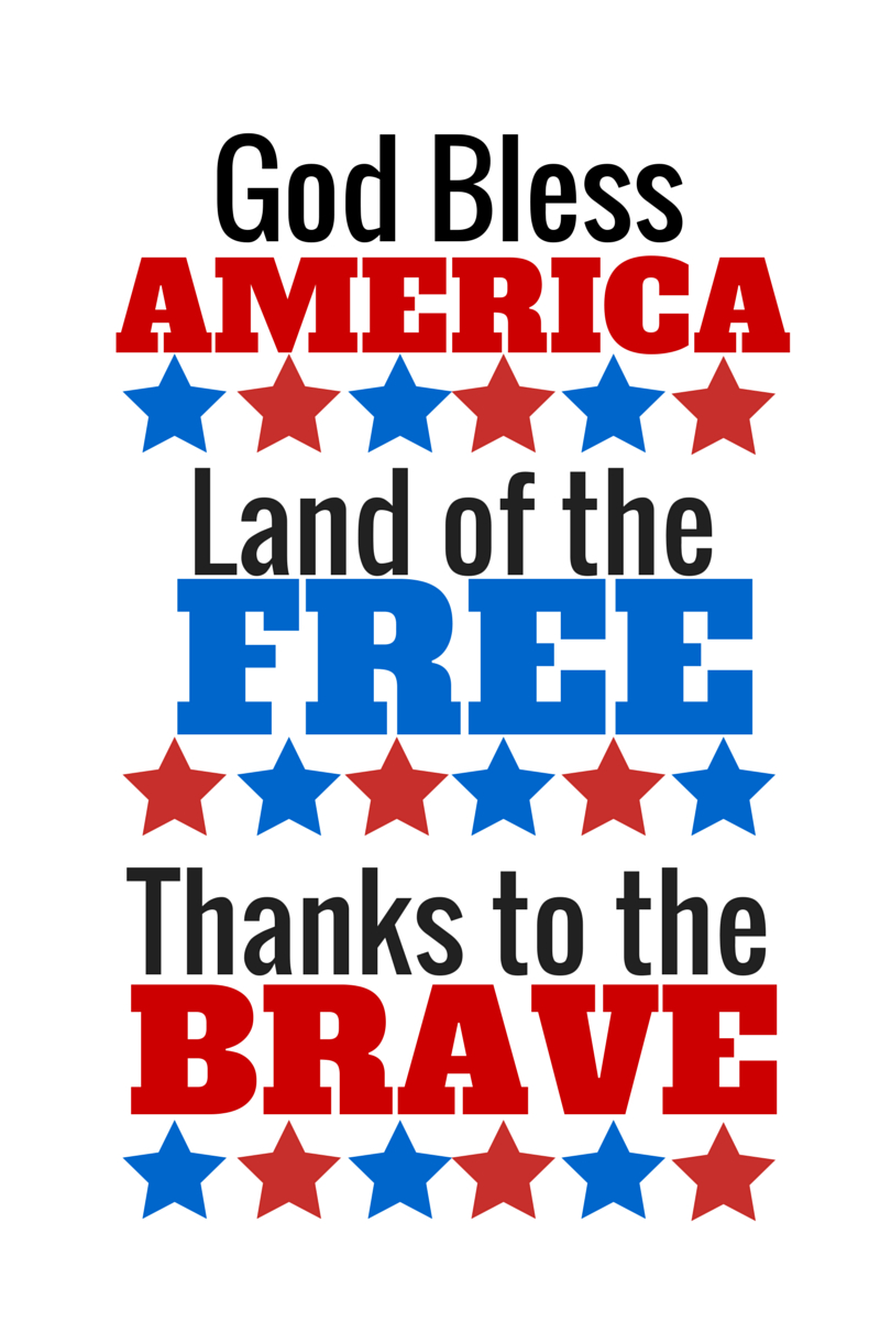 July Fourth Printable (Free) God Bless America   R E D, W H I T E - Free Printable God Bless Banner