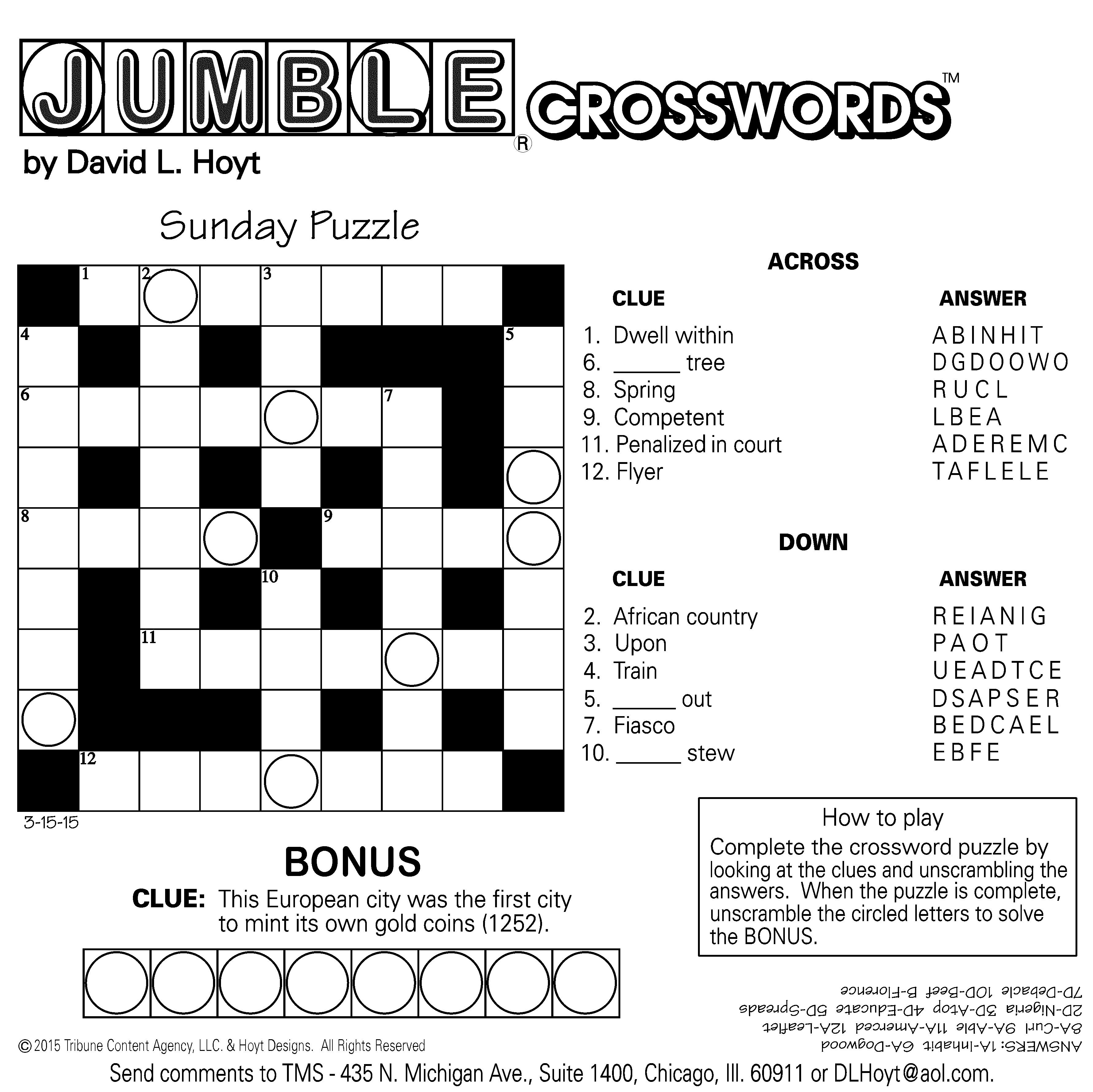 Jumble Archives | Tribune Content Agency - Free Printable Jumbles
