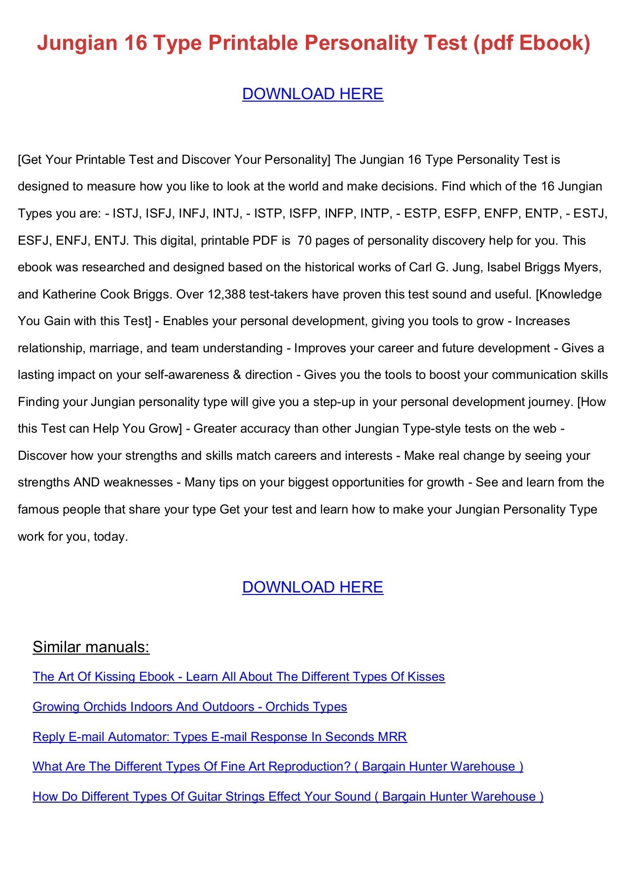 Jungian 16 Type Printable Personality Test (Pdf Ebook) Pages 1 - 6 - Myers Briggs Personality Test Free Online Printable