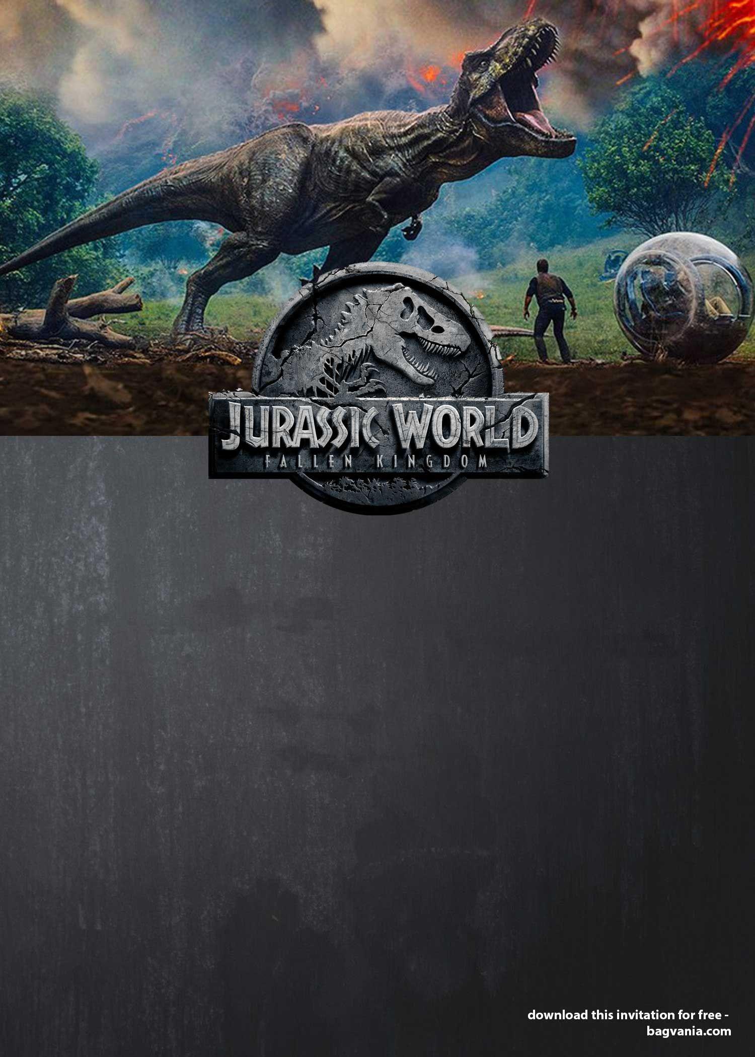 Jurassic World : Fallen Kingdom Birthday Party Ideas - Free - Free Printable Jurassic World Invitations