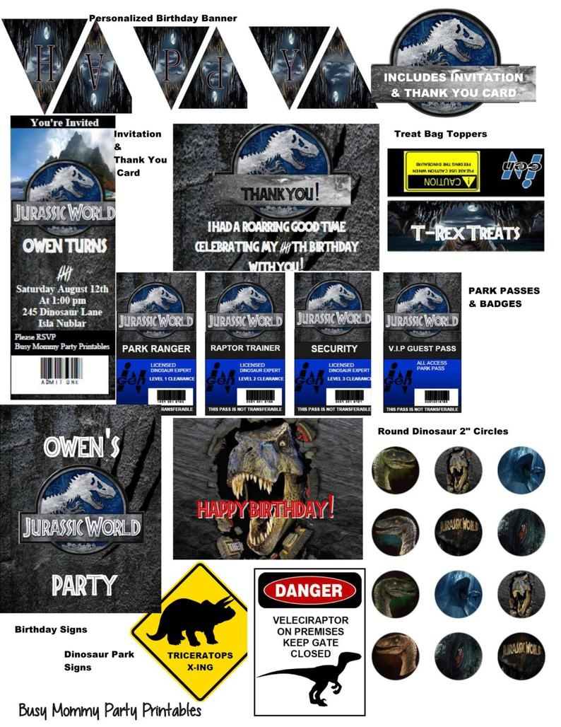 Jurassic World Inspired Party Package Printables-Jurassic   Etsy - Jurassic World Free Printables