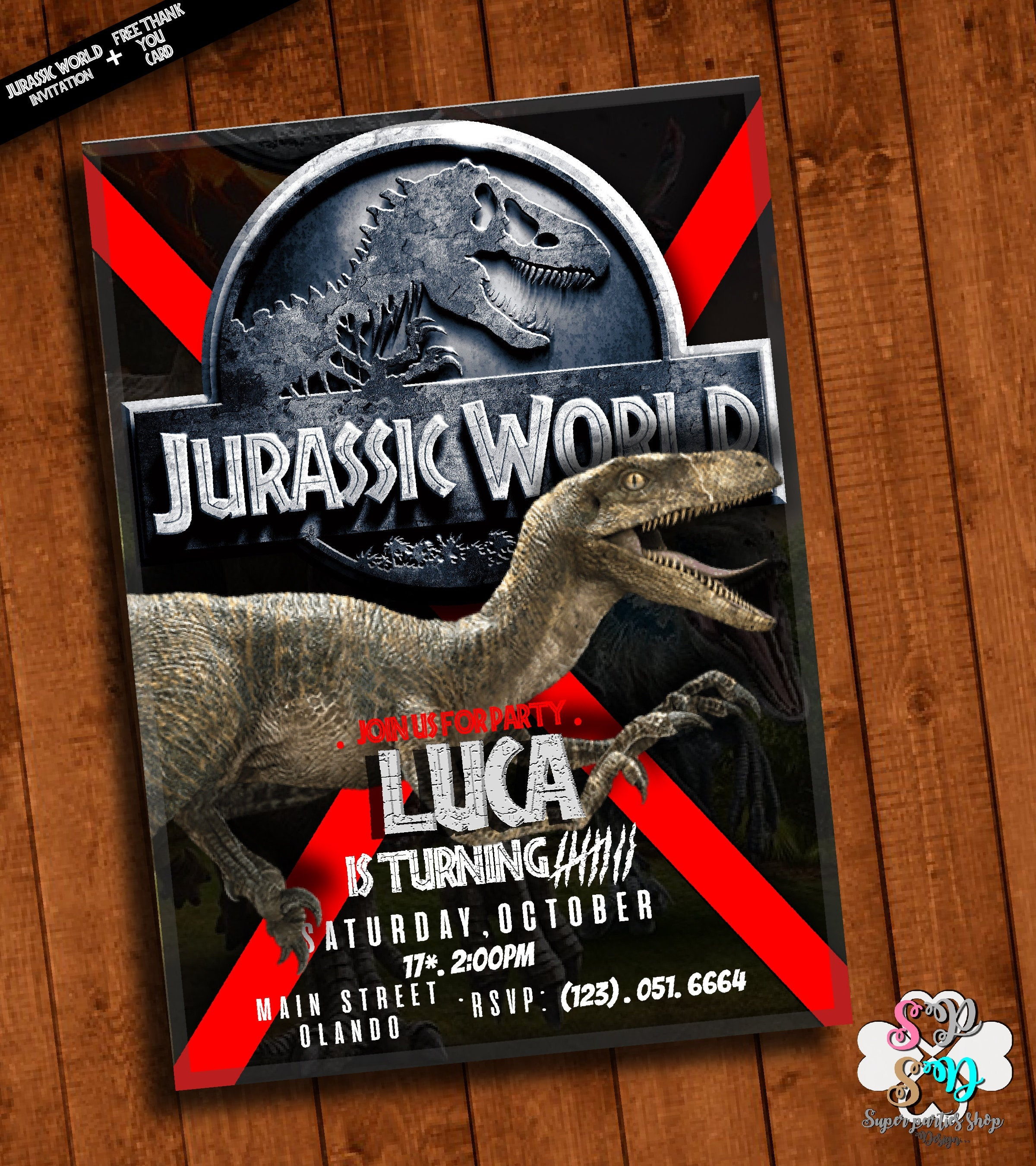 Jurassic World Invitation Printable With Free Thank You Card | Etsy - Free Printable Jurassic World Invitations