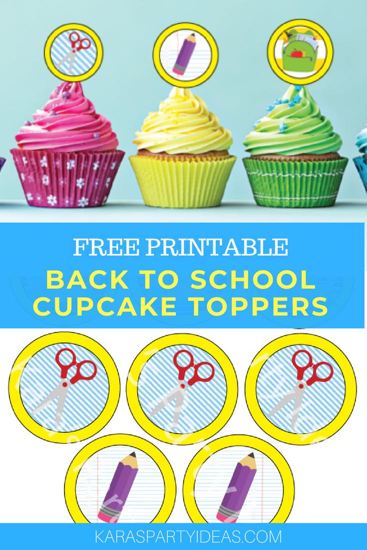 Kara's Party Ideas Free Printable Back To School Cupcake Toppers - Alice In Wonderland Cupcake Toppers Free Printable