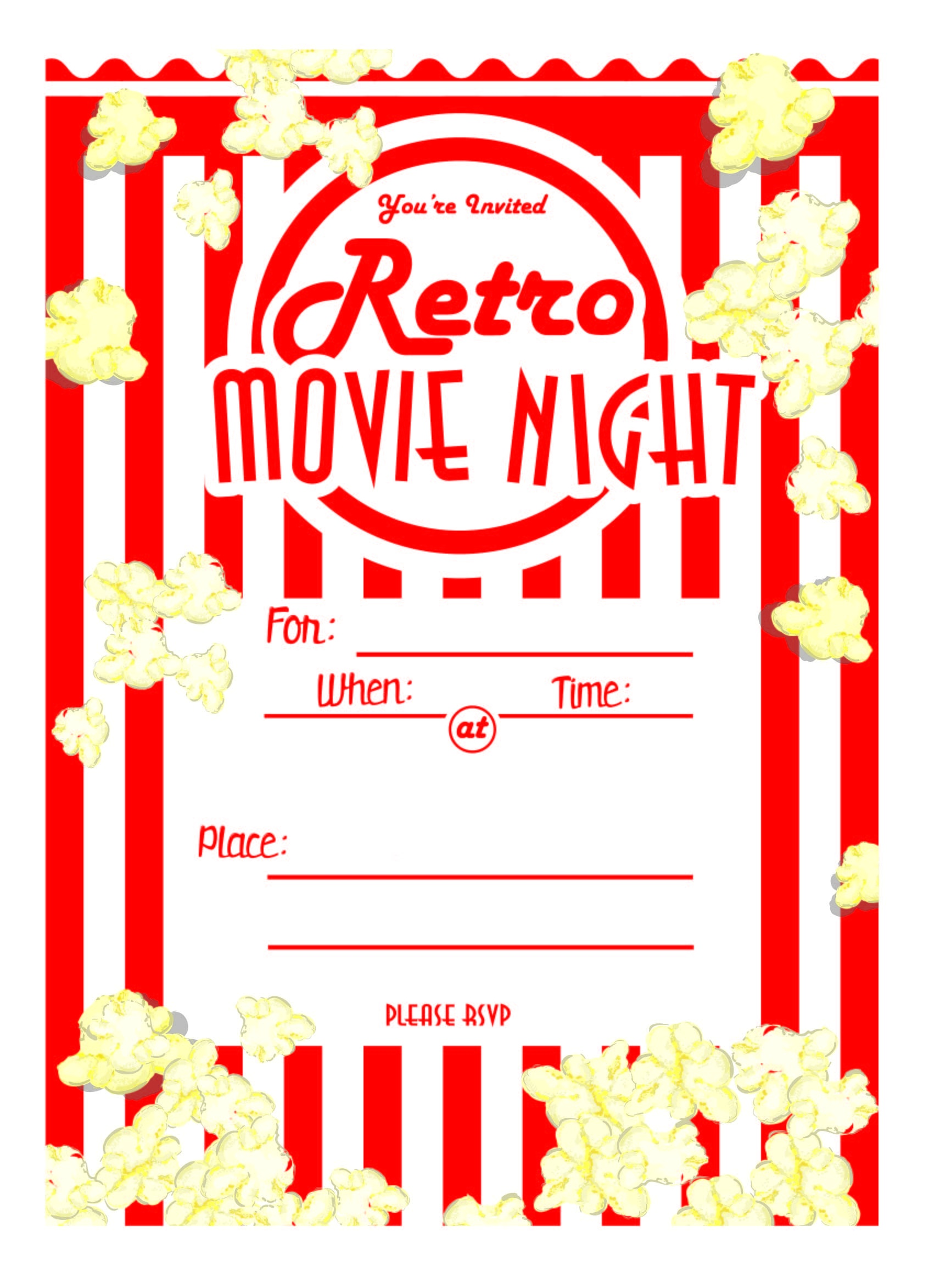 Kara's Party Ideas Movie Night Party With Free Printables! | Kara's - Free Printable Movie Themed Invitations