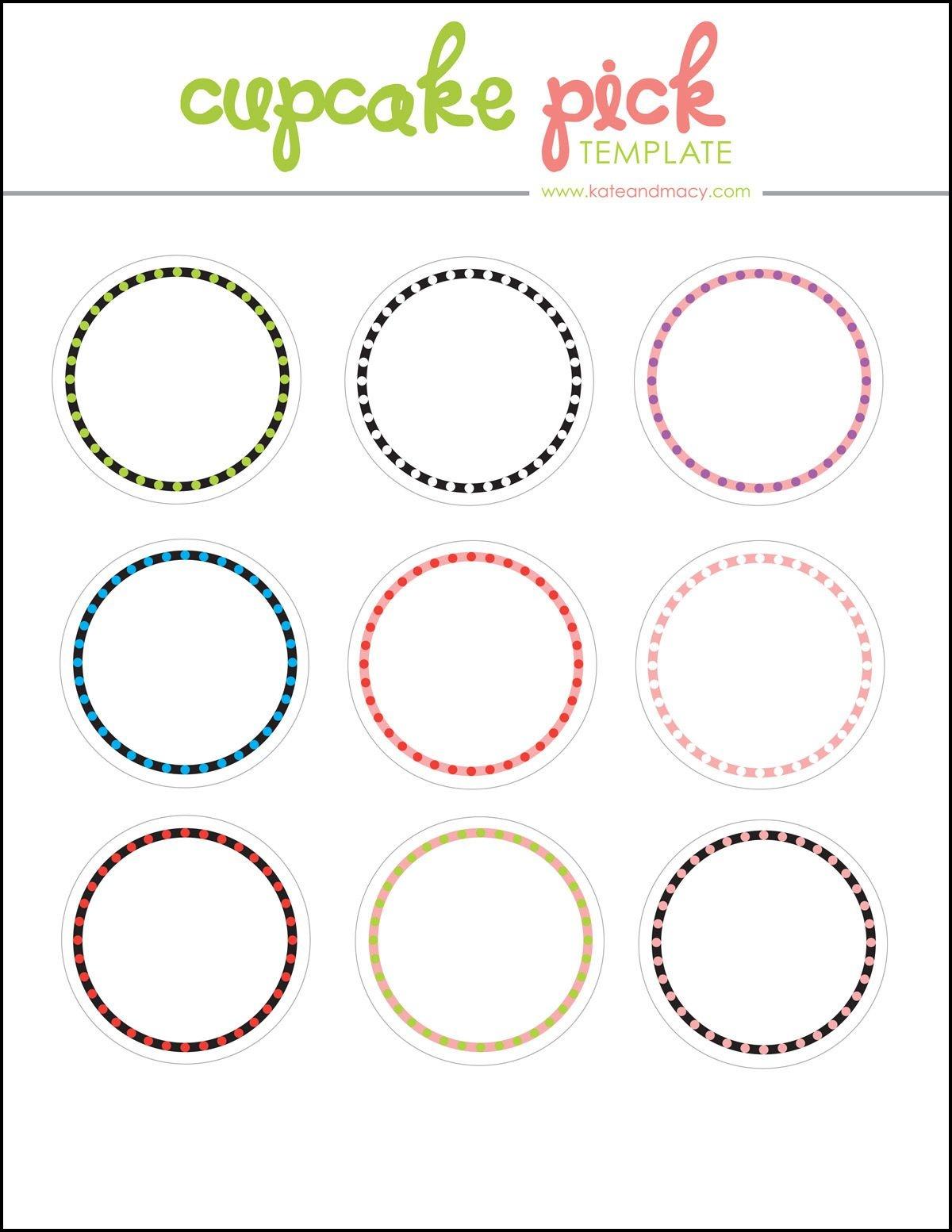 Kate: Free Digital Cupcake Pick Topper Template | Printables - Free Printable Cupcake Toppers Bridal Shower