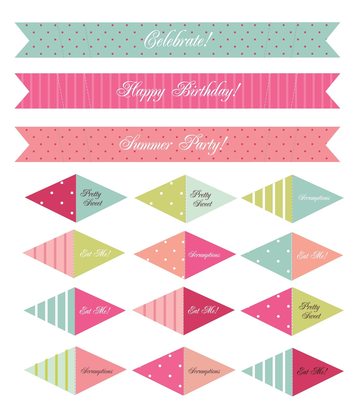Katie Elliott Designs: Make Your Own - Free Printable Cake Bunting Template