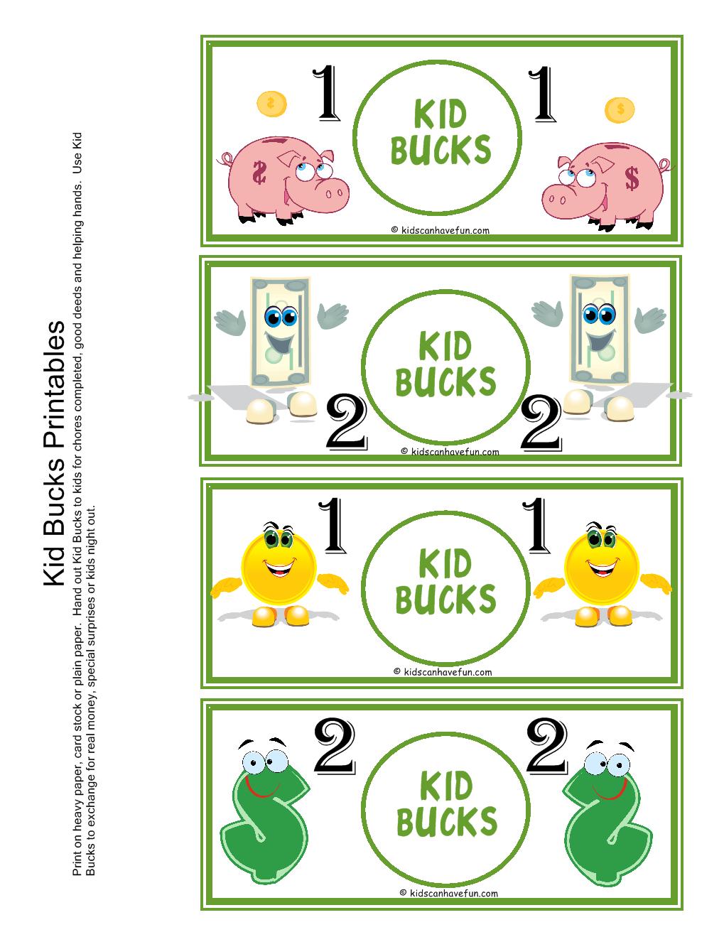"Kid Bucks | Home ""behavior Banking"" | Chores For Kids, Kids Rewards - Free Printable Chore Bucks"