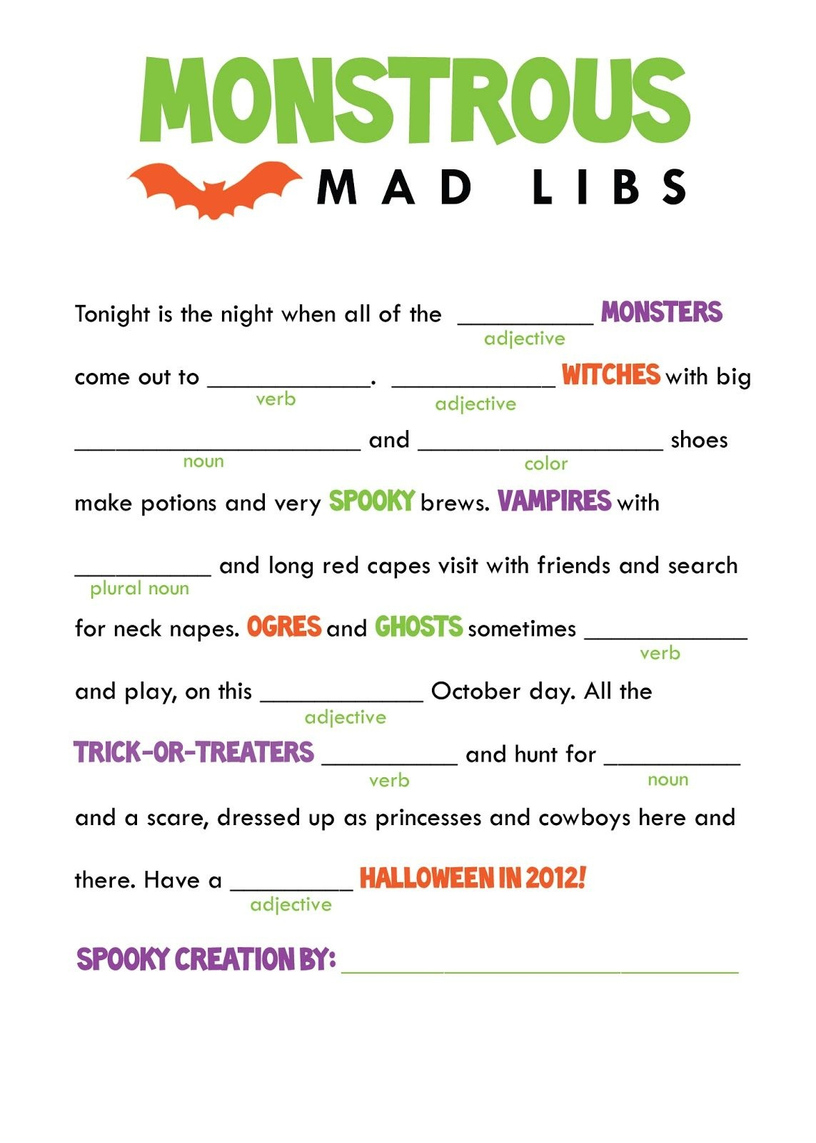 Kids Mad Libs Printable Free - Google Search | Classroom Party - Free Printable Mad Libs For Tweens