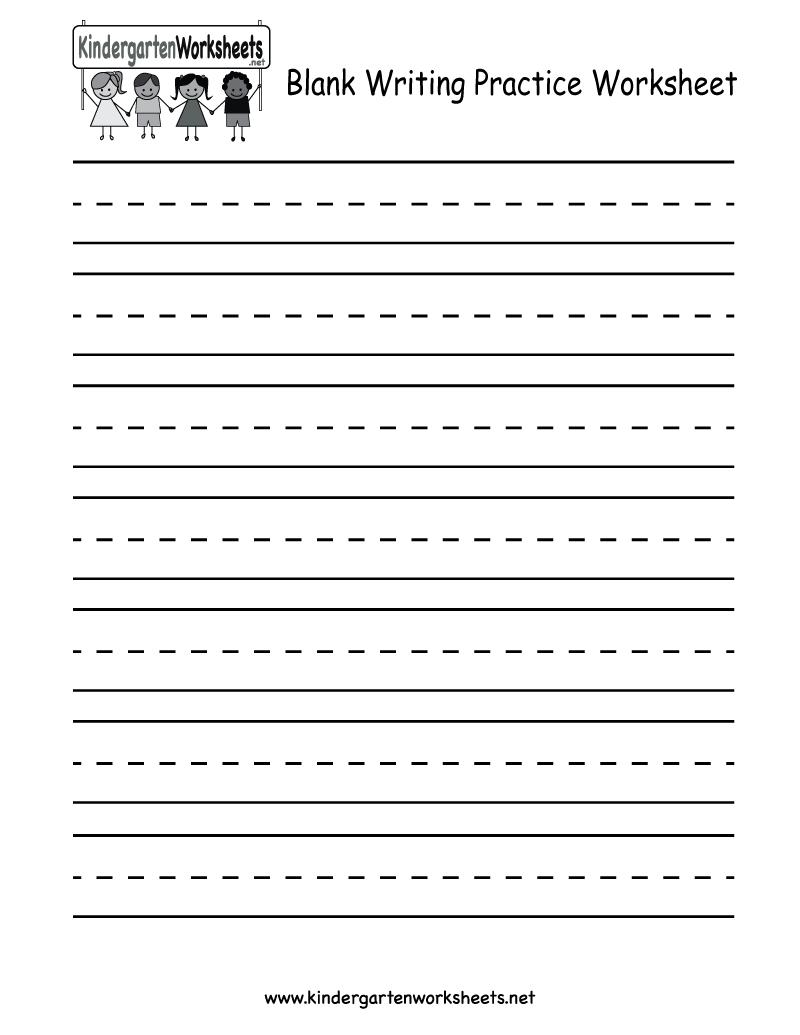 Kindergarten Blank Writing Practice Worksheet Printable | Writing - Blank Handwriting Worksheets Printable Free