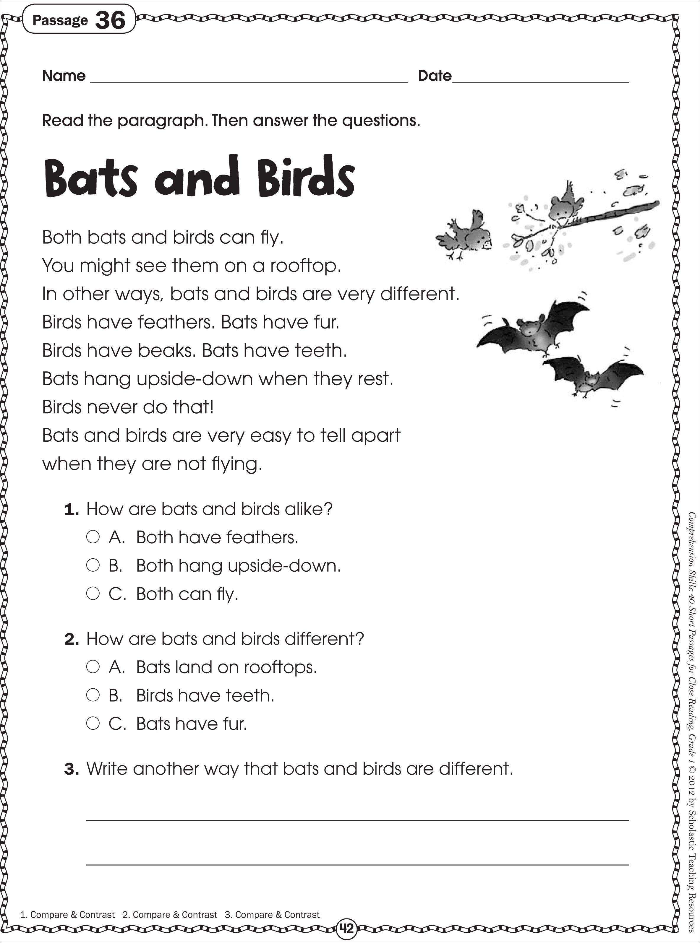 Kindergarten: Free Printable Kindergarten Reading Worksheets. Year 1 - Free Printable Short Stories For Grade 3