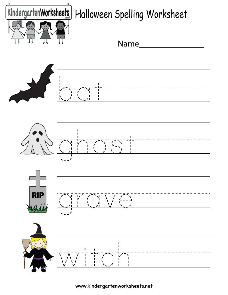 Kindergarten Halloween Spelling Worksheet Printable | Free Halloween - Halloween Worksheets Free Printable