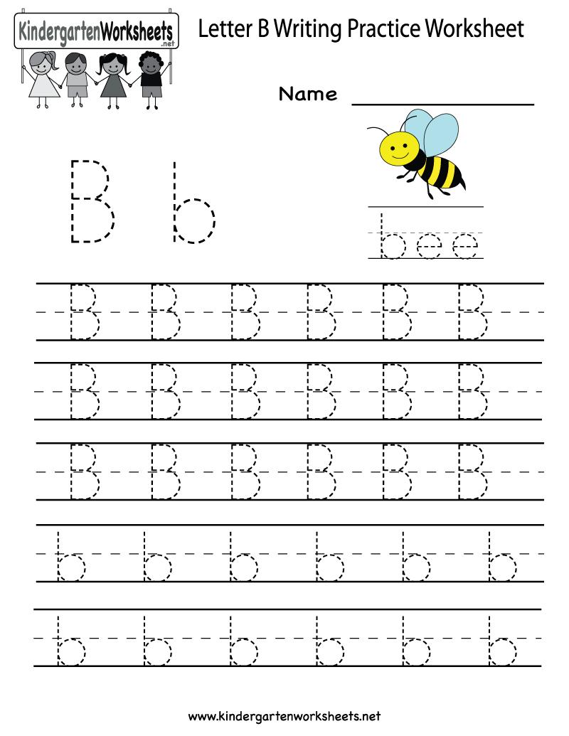 Kindergarten Letter B Writing Practice Worksheet Printable | Things - Free Printable Alphabet Worksheets For Kindergarten