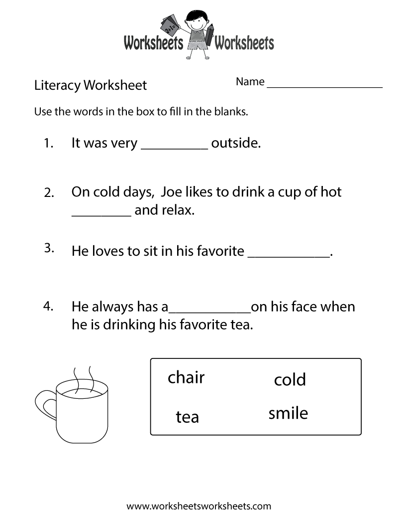 Kindergarten Worksheets | Kindergarten Literacy Worksheet - Free - Free Printable Literacy Worksheets For Adults