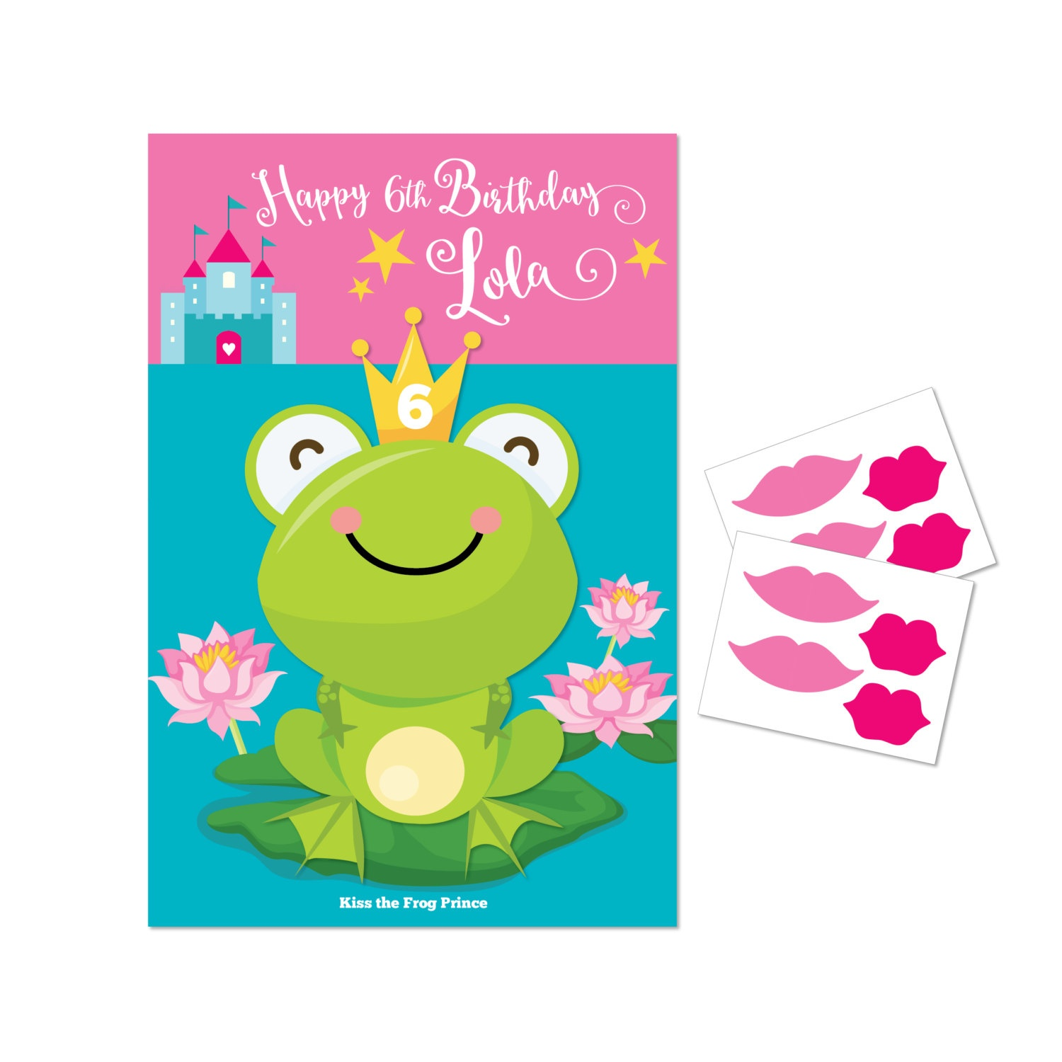Kiss The Frog- Princess Party Game / Diy Party Game / Princess Party - Pin The Kiss On The Frog Free Printable