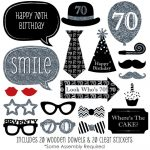 Kit Photobooth Mariage New Adult 70Th Birthday Party Silver 20 Piece   Free Printable 70's Photo Booth Props