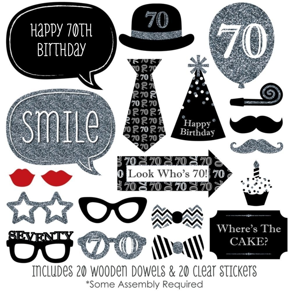 Kit Photobooth Mariage New Adult 70Th Birthday Party Silver 20 Piece - Free Printable 70's Photo Booth Props