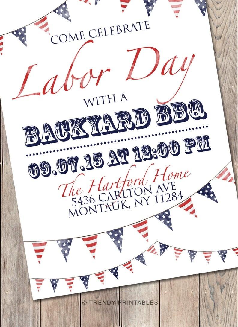 Labor Day Bbq Labor Day Party Labor Day Bbq Invitation   Etsy - Free Printable Labor Day Invitations