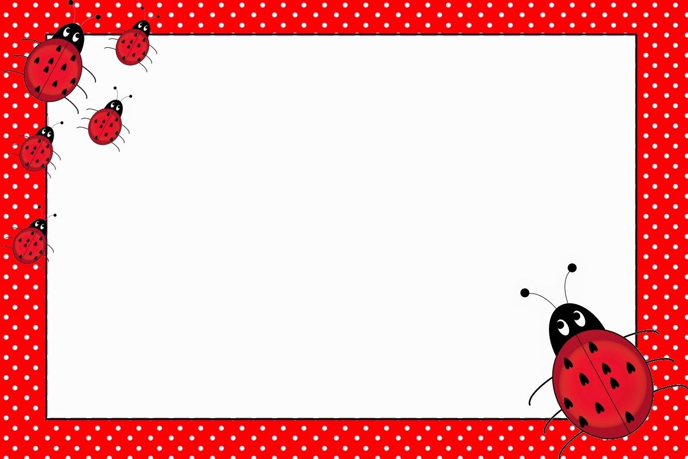 Ladybugs: Free Printable Invitations.   Name Tags   Free Printable - Free Printable Ladybug Stationery
