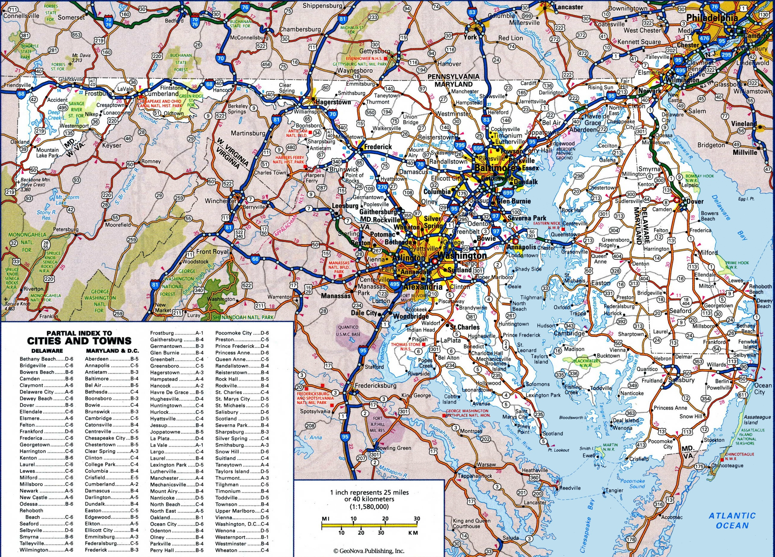 Large Detailed Map Of Maryland With Cities And Towns - Free Printable Map Of Maryland