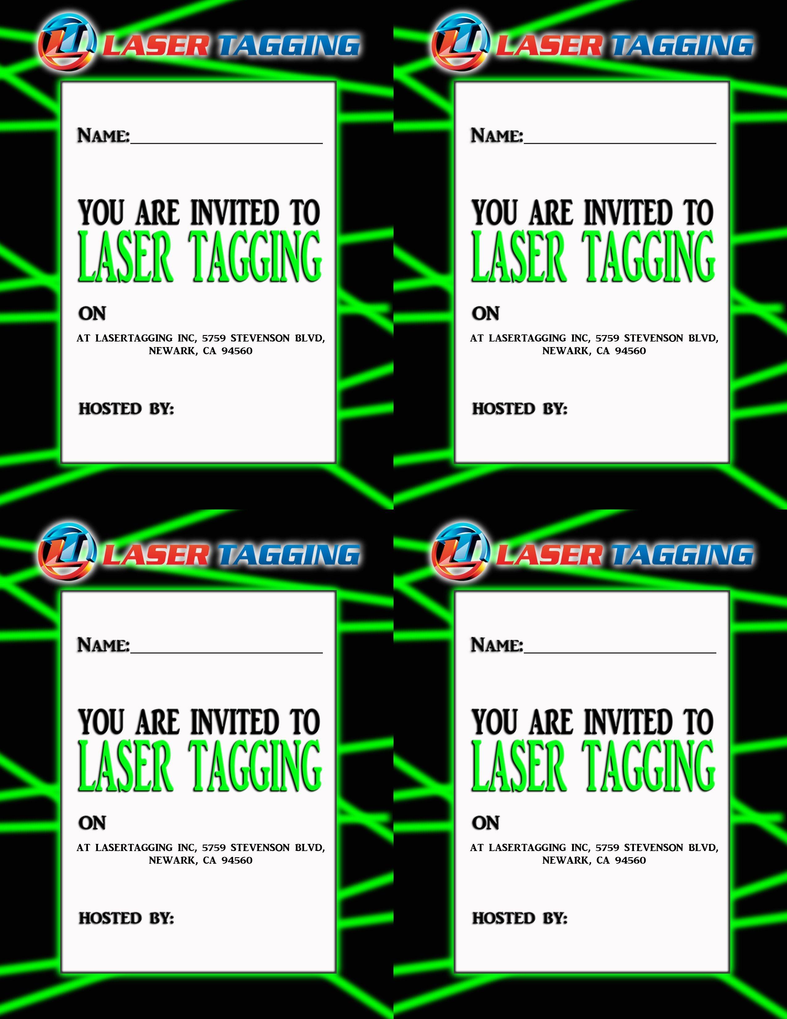 Laser Tag Free Printables | Laser Tag Invitations Printable Free - Free Printable Birthday Tag Templates