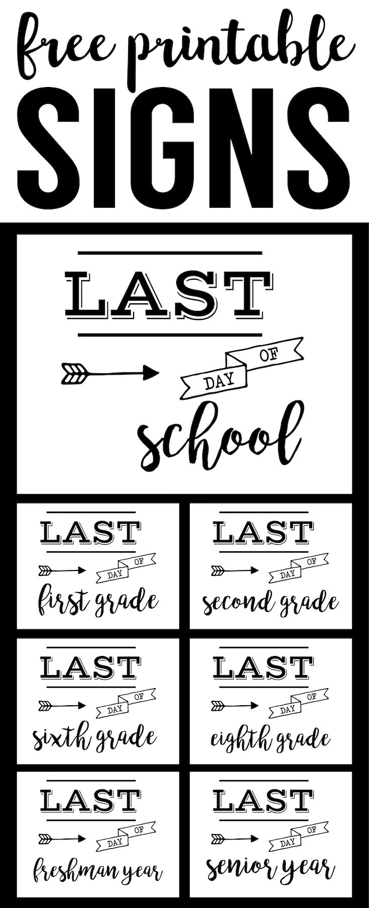 Last Day Of School Sign Free Printable - Paper Trail Design - Free Last Day Of School Printables
