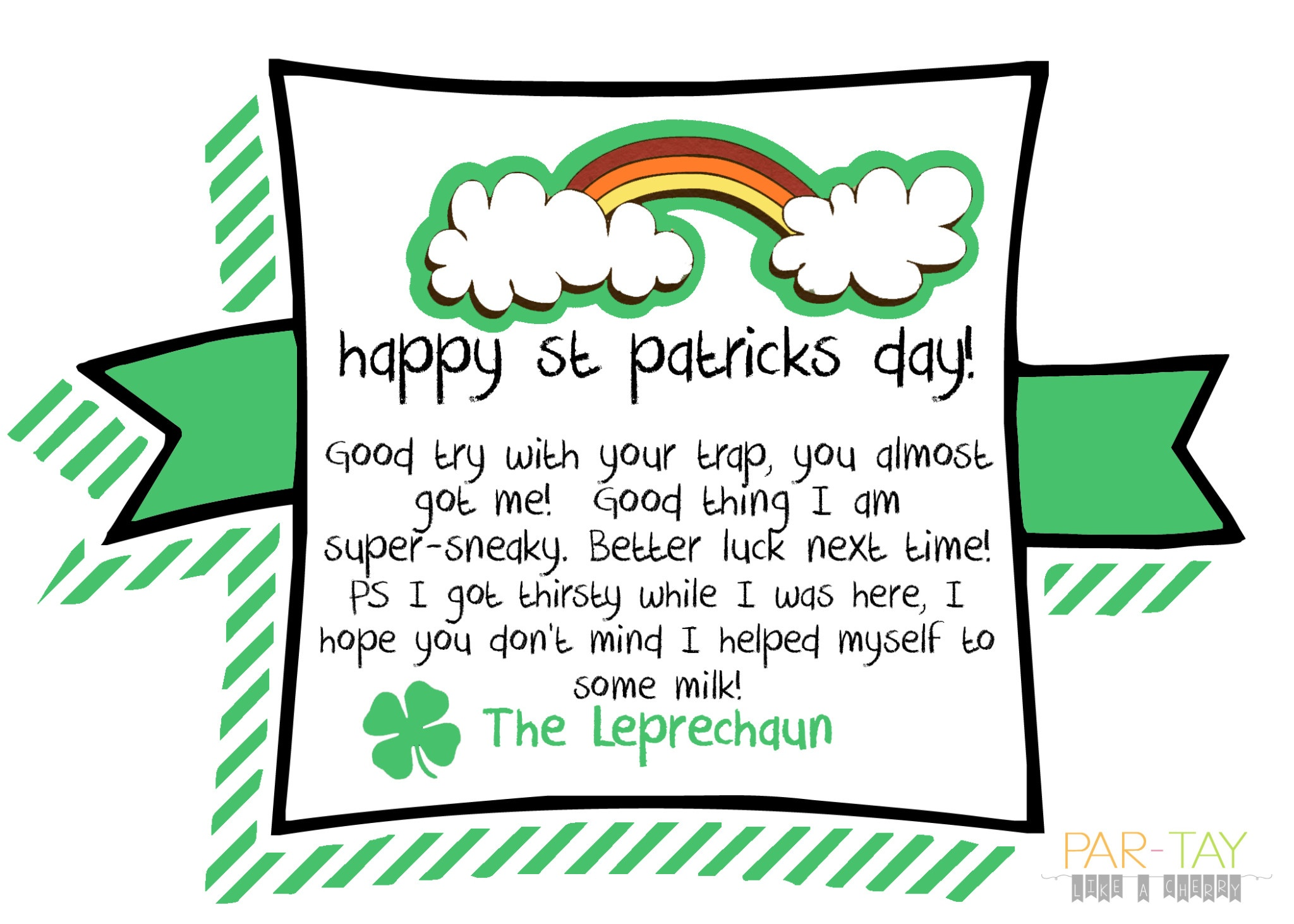 Last Minute St Patrick's Day Idea - Party Like A Cherry - Free Printable Leprechaun Notes