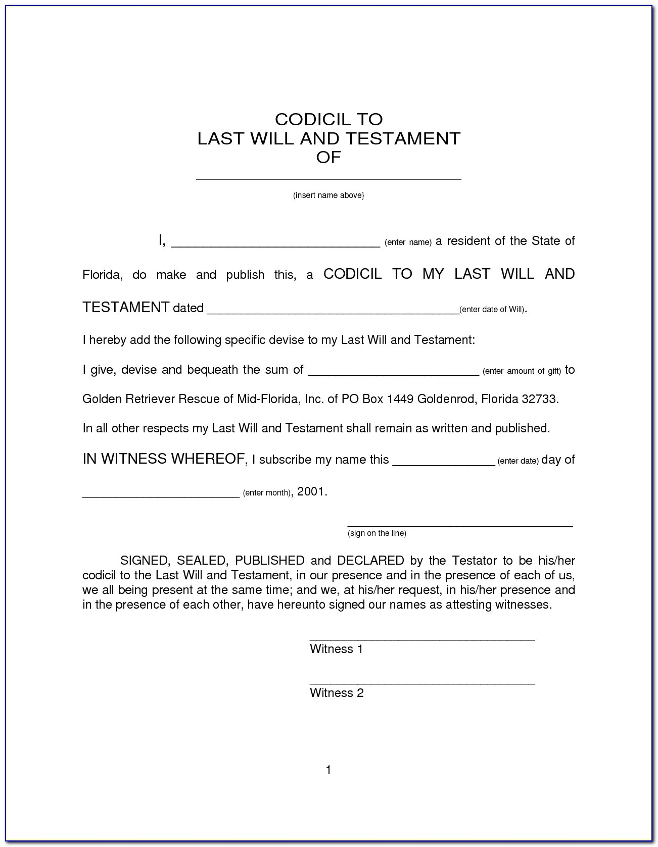 Last Will And Testament Template (6) | Best Agenda Templates Within - Free Printable Last Will And Testament Blank Forms Florida