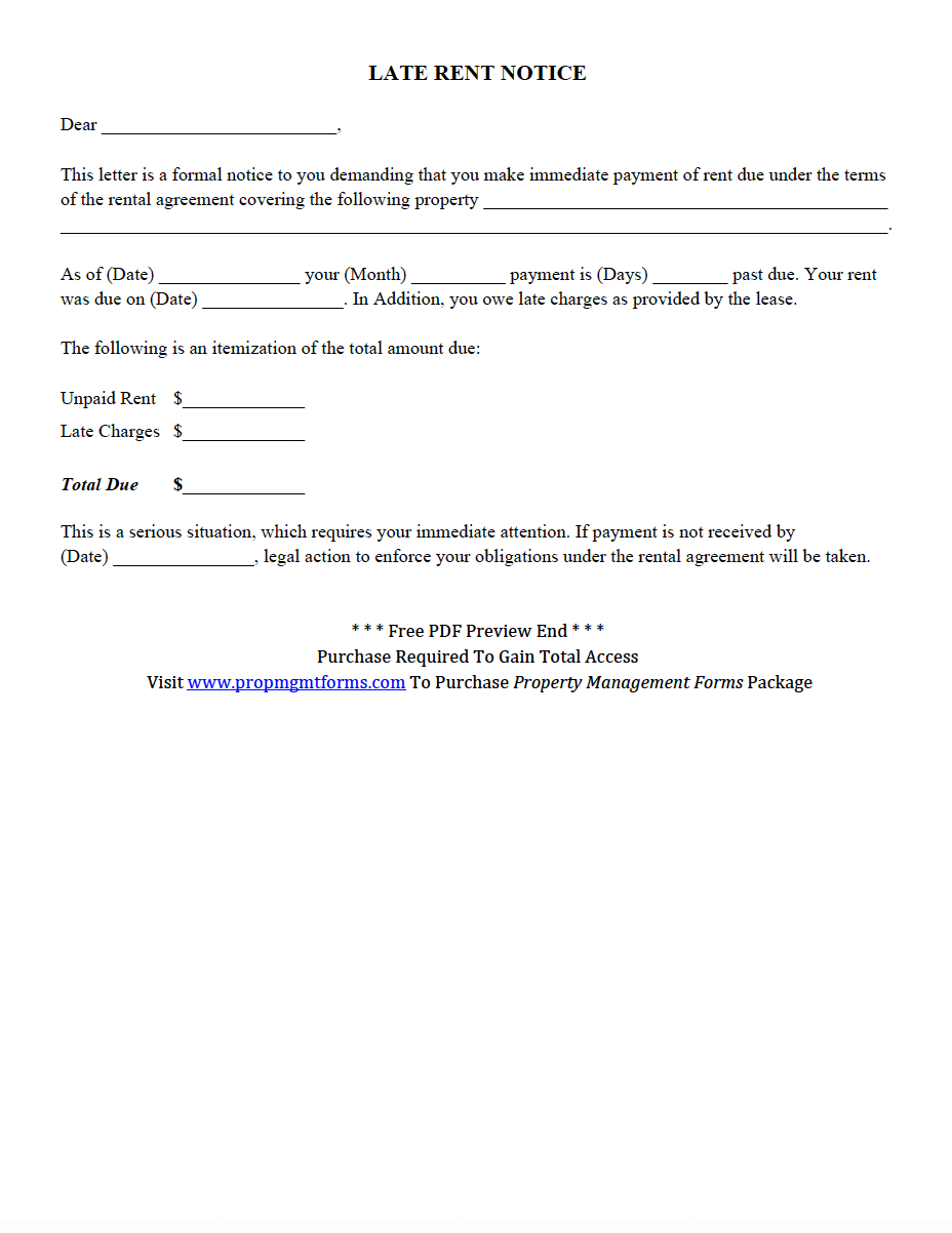 Late Rent Notice Pdf | Property Management Forms In 2019 - Free Printable Late Rent Notice