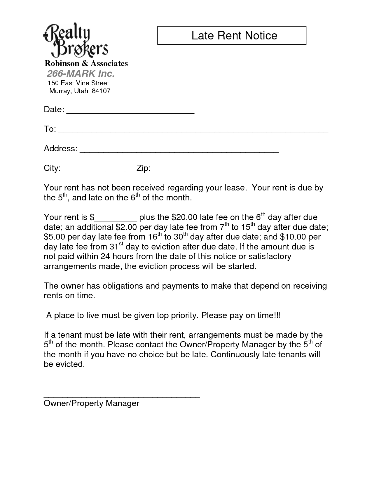 Late Rent Notice Template Images - Sample Late Rent Notice - Free Printable Late Rent Notice