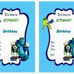 Latest Of Monster Birthday Party Invitations Free Free Printable The   Free Printable Monsters Inc Birthday Invitations