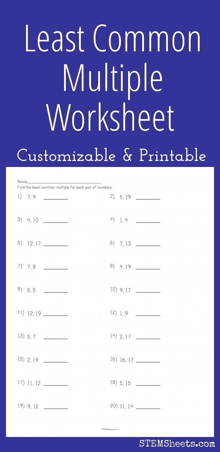 Least Common Multiple Worksheet - Customizable And Printable   Math - Free Printable Lcm Worksheets