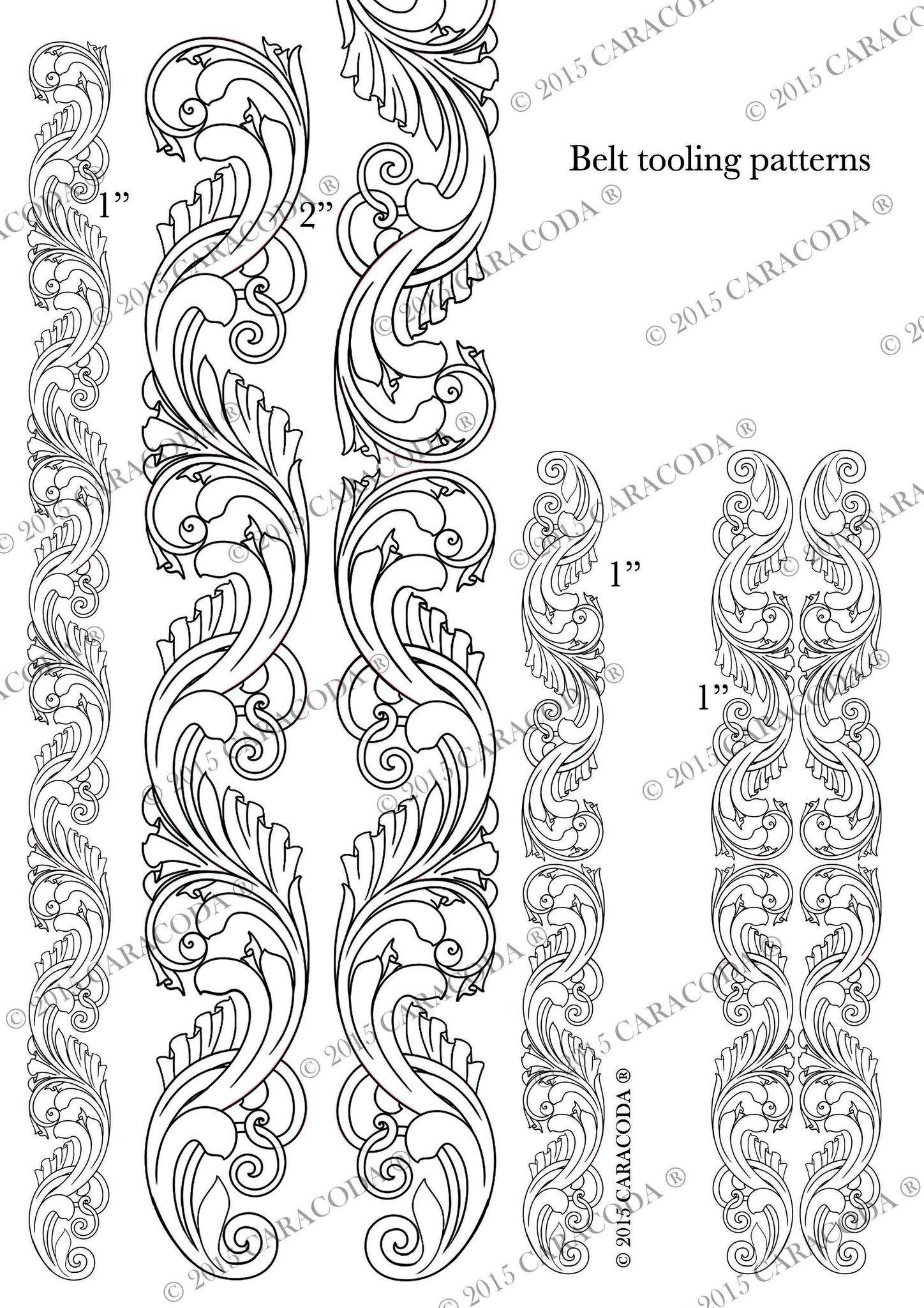Leathercraft Tooling Pattern Belt A4 001   Leather Patterns - Free Printable Leather Belt Tooling Patterns