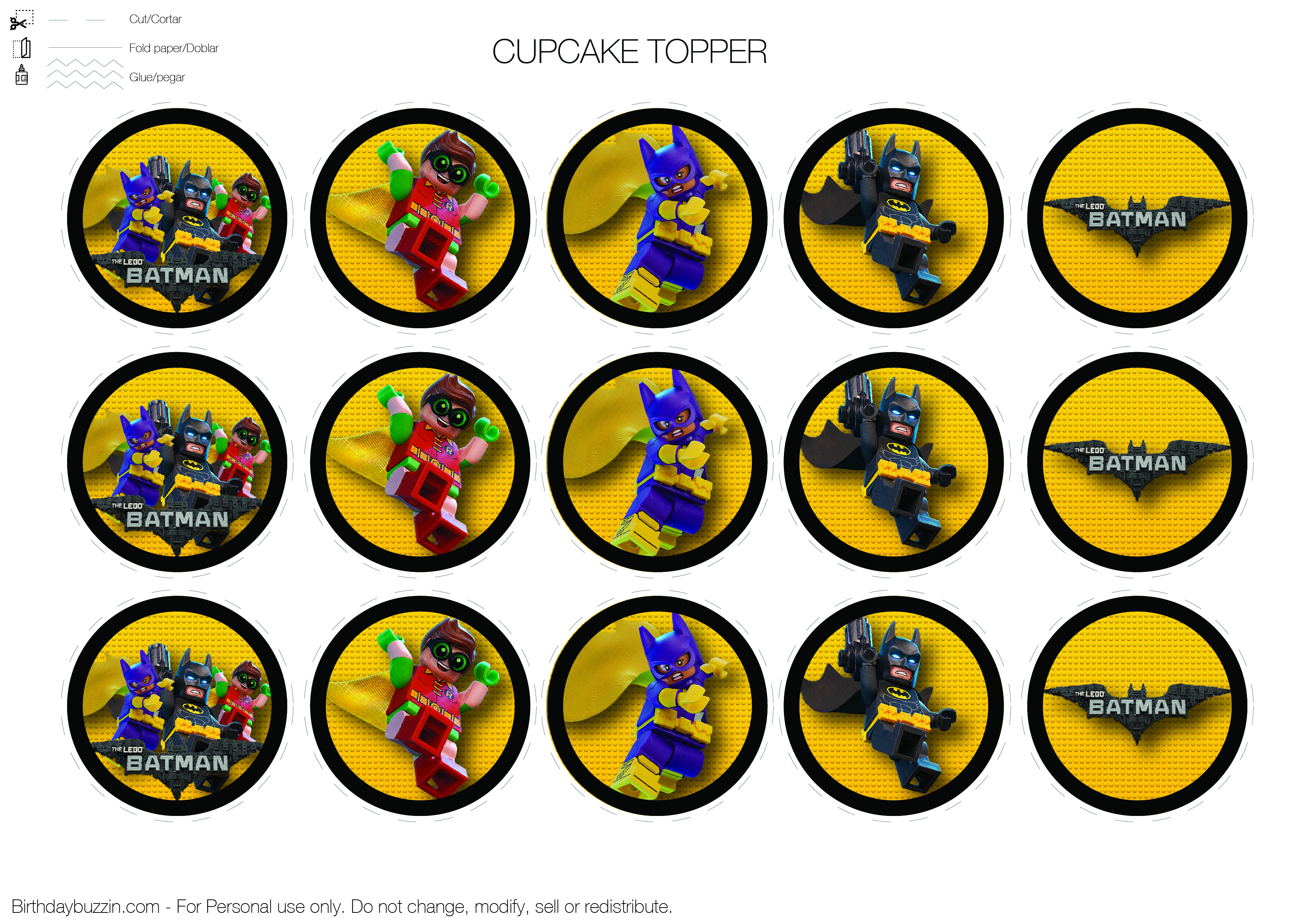 Lego-Batman-Cupcake-Topper | Birthday Buzzin - Free Printable Lego Batman