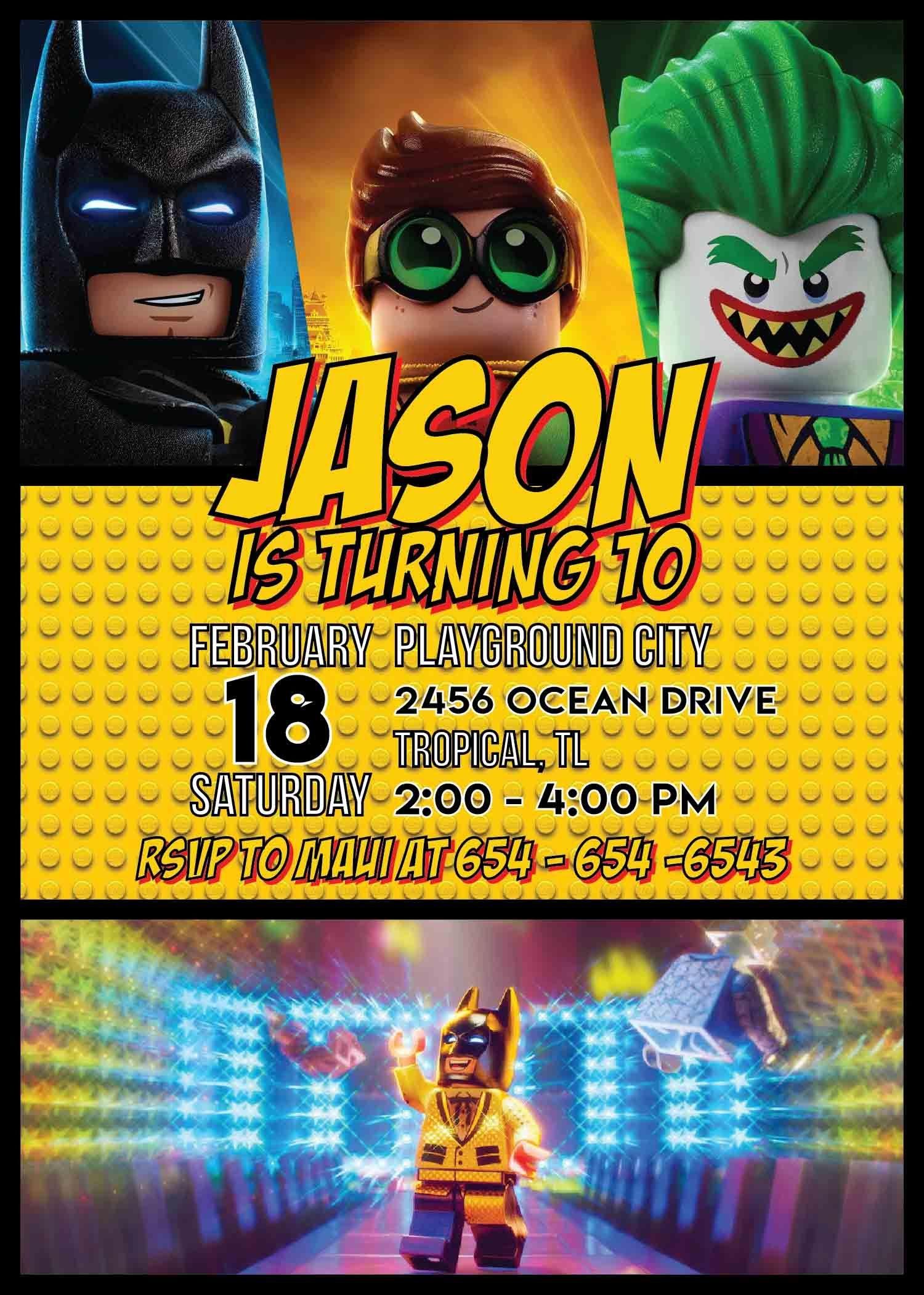 Lego Batman Party Invitation Template In 2019 | Lego Batman Party - Lego Batman Invitations Free Printable