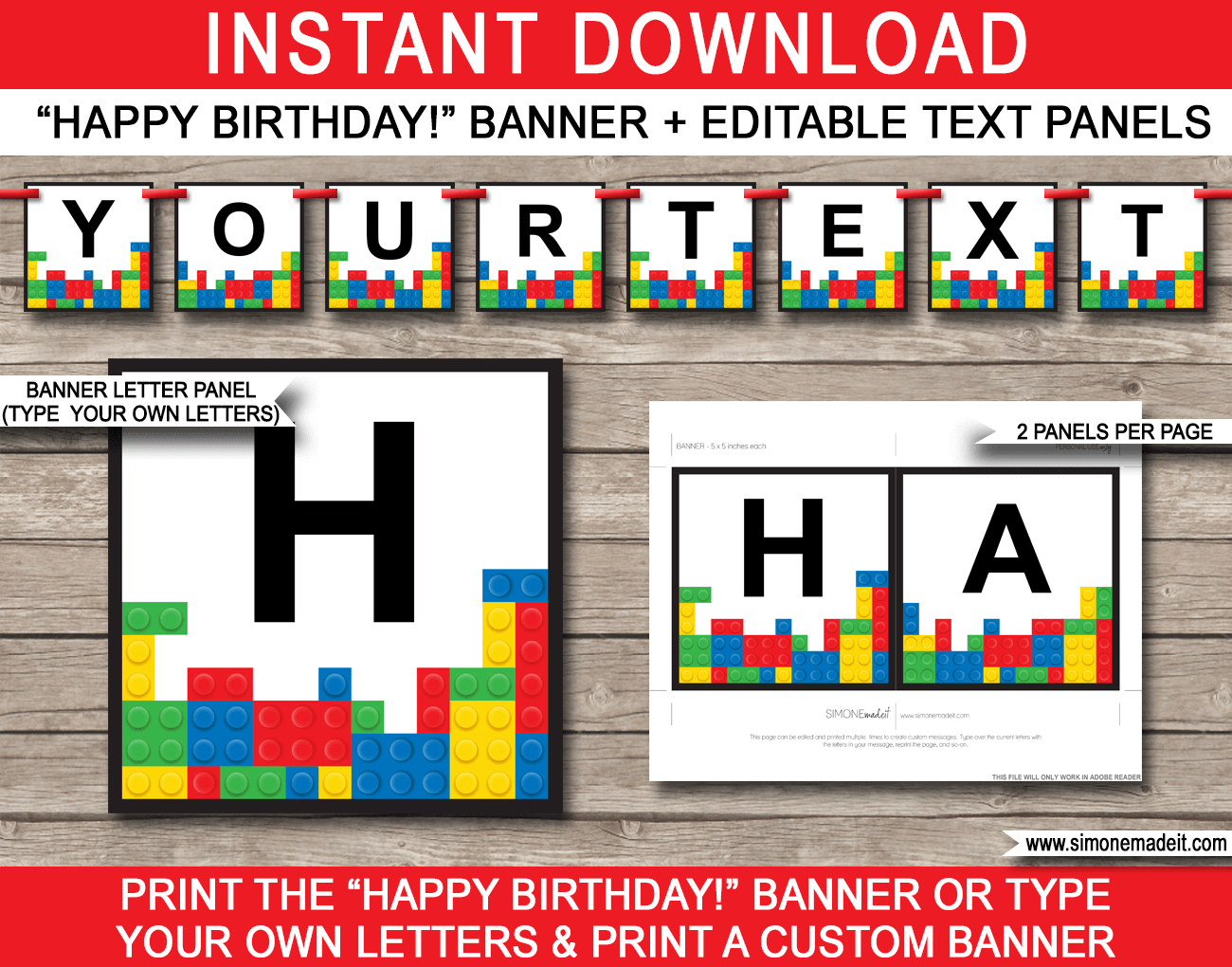 Lego Party Banner Template | Happy Birthday Banner | Editable Bunting - Free Printable Lego Banner