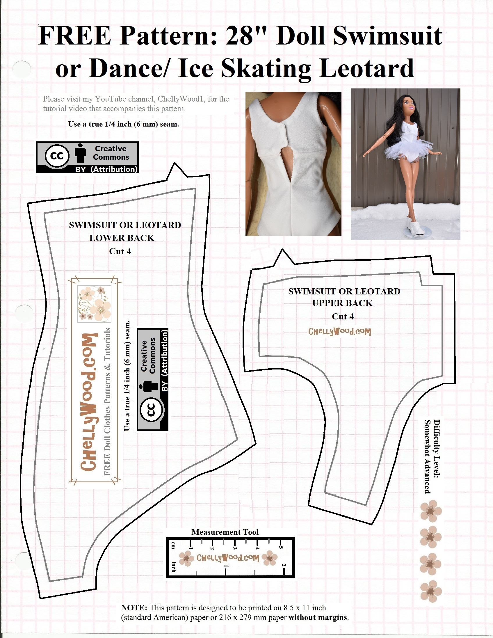 Leotard Or Swimsuit Back Pattern B For 28 Inch Barbie (Or Other 28 - Free Printable Leotard Pattern