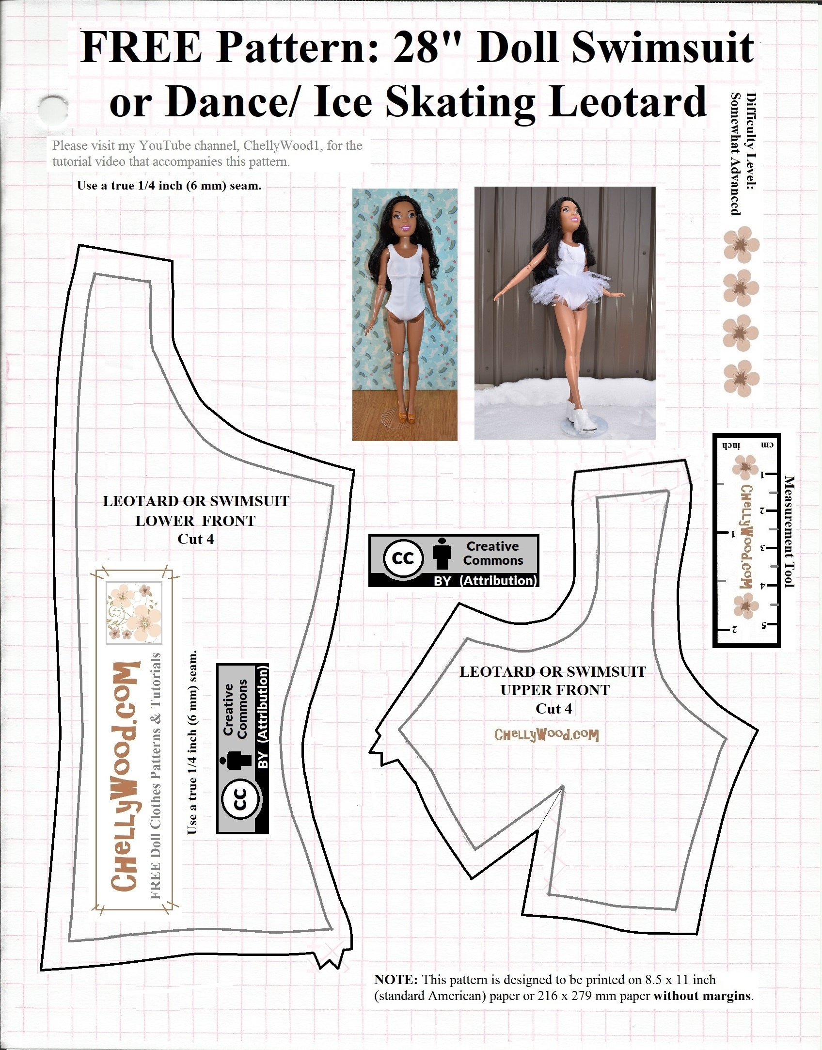 Leotard Or Swimsuit Front Free Printable Pattern B For 28 Inch - Free Printable Leotard Pattern