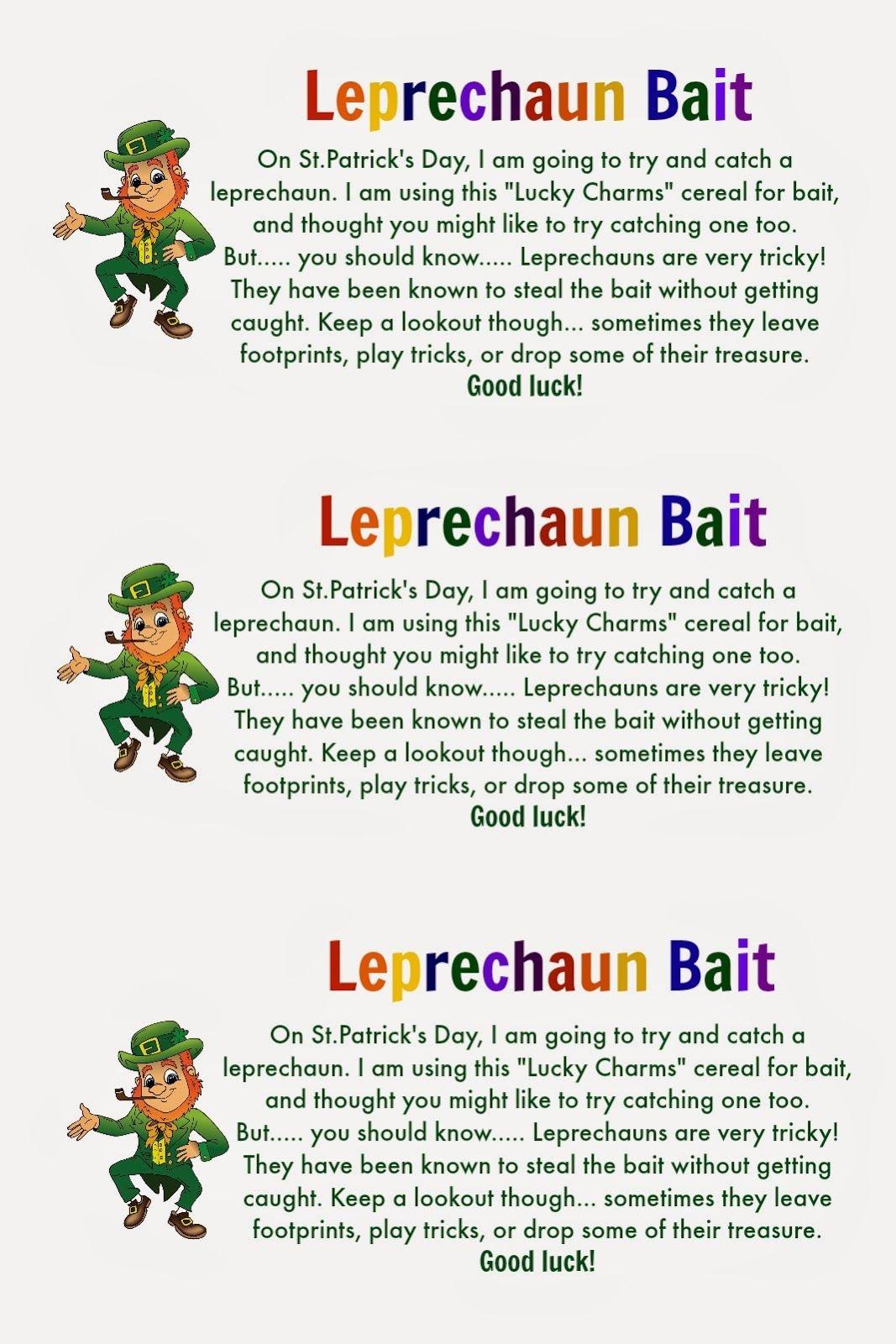 Leprechaun Bait {With Free Printable Tags} | St. Patrick's Day - Free Printable Leprechaun Notes
