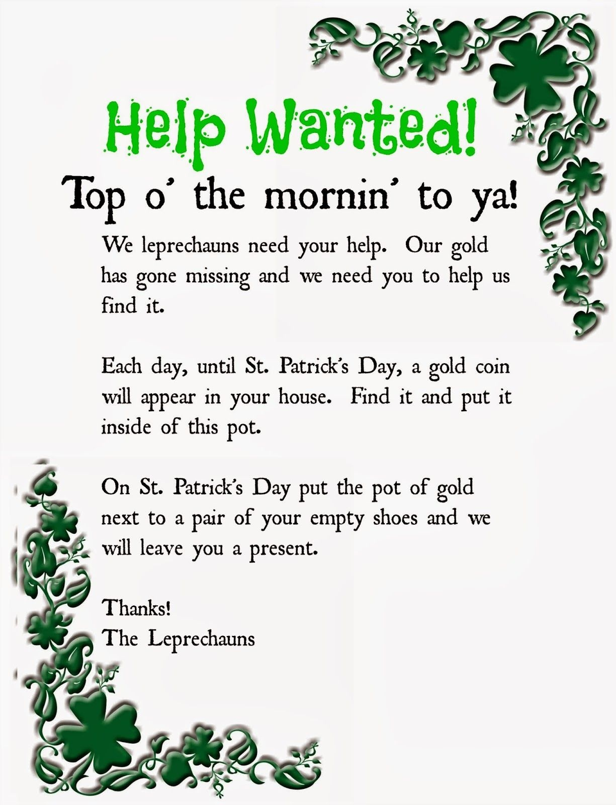Leprechaun Note Printable. A Fun Way To Get Your Kids Excited For St - Free Printable Leprechaun Notes