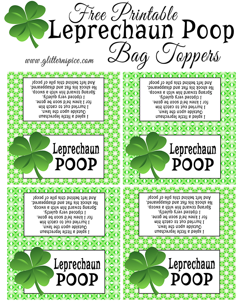 Leprechaun Poop Treats & Free Printable Treat Bag Toppers And Gift - Free Printable Leprechaun Notes