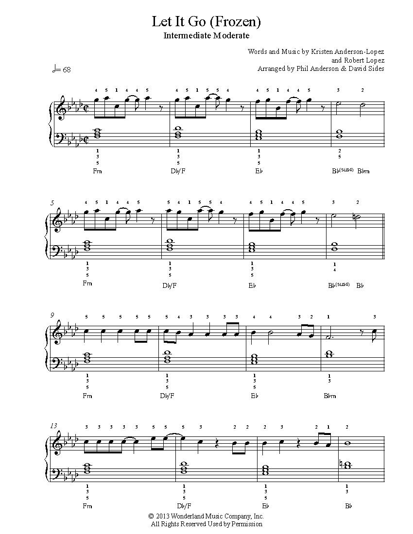 Let It Gofrozen Piano Sheet Music | Intermediate Level - Let It Go Piano Sheet Music Free Printable