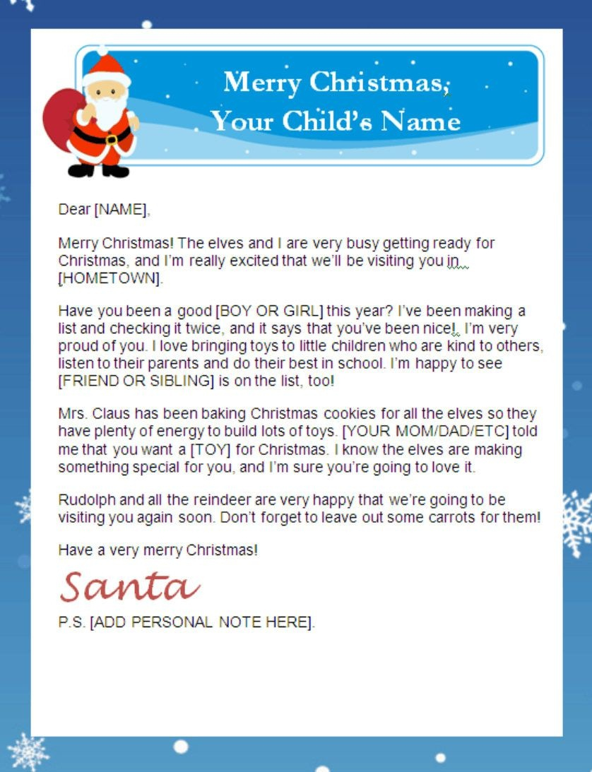 Letter From Santa Templates Free | Printable Santa Letters - Free Printable Santa Reply Letter Template