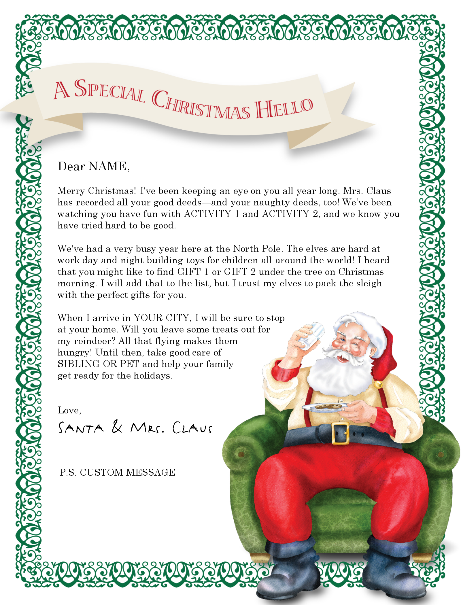 Letter From Santa Templates Free | Try It Free! Login Learn More - Free Printable Christmas Morning Letters From Santa