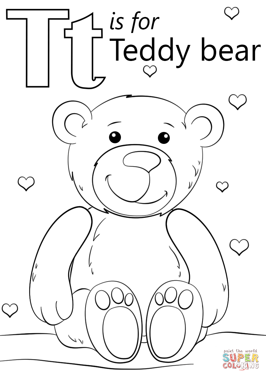 Letter T Is For Teddy Bear Coloring Page | Free Printable Coloring Pages - Teddy Bear Coloring Pages Free Printable